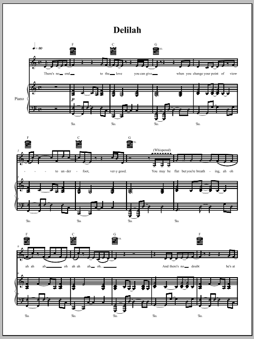 Download The Dresden Dolls Delilah sheet music and printable PDF score & Pop music notes