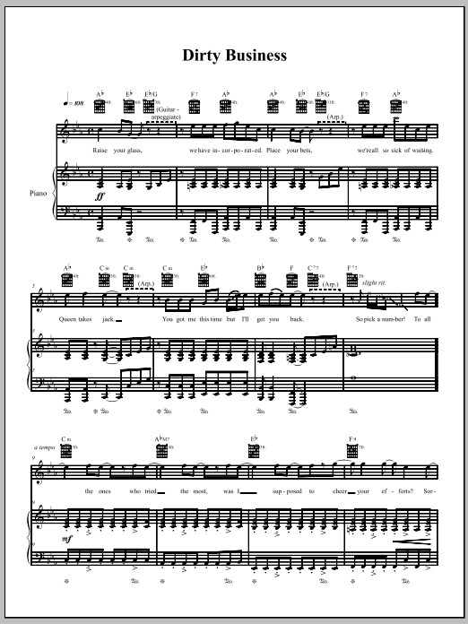 Download The Dresden Dolls Dirty Business sheet music and printable PDF score & Pop music notes