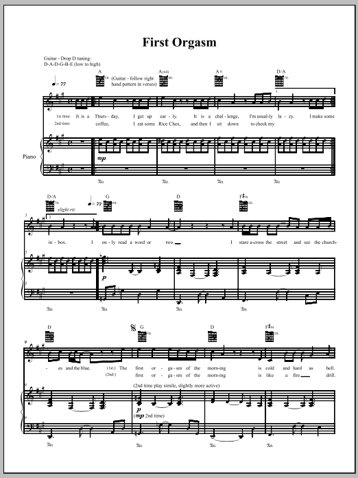 Download The Dresden Dolls First Orgasm sheet music and printable PDF score & Pop music notes