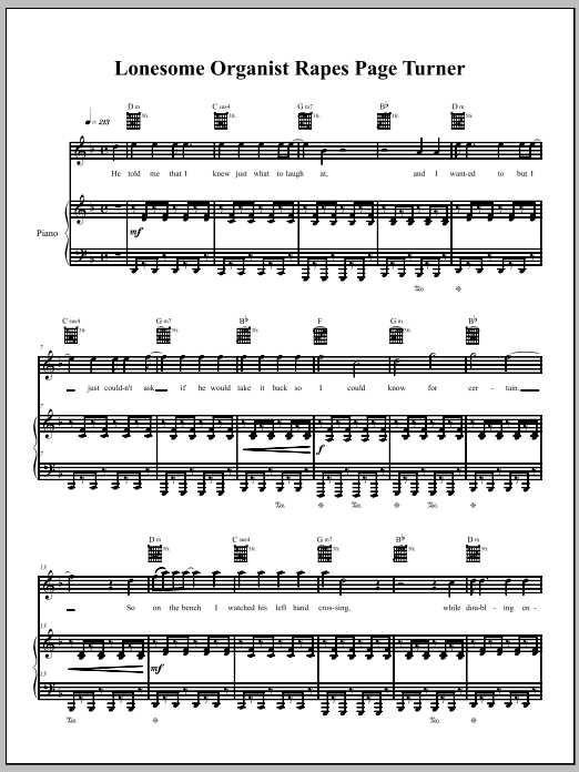 Download The Dresden Dolls Lonesome Organist Rapes Page-Turner sheet music and printable PDF score & Pop music notes