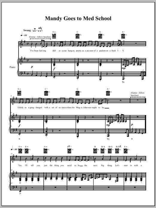 Download The Dresden Dolls Mandy Goes To Med School sheet music and printable PDF score & Pop music notes