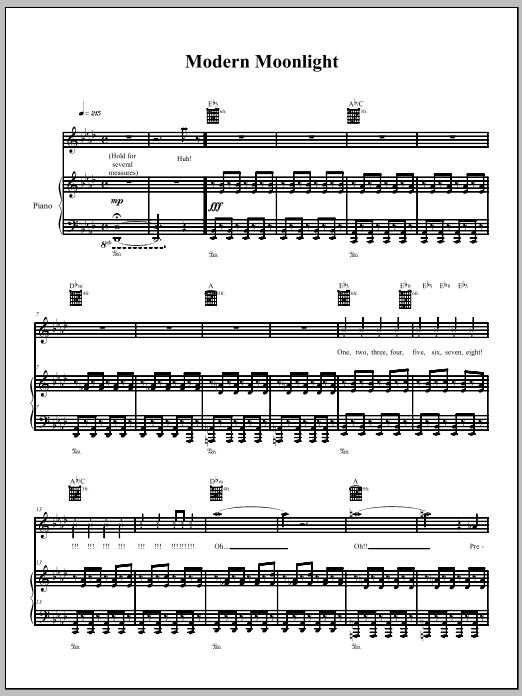 Download The Dresden Dolls Modern Moonlight sheet music and printable PDF score & Pop music notes