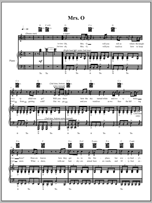 Download The Dresden Dolls Mrs. O sheet music and printable PDF score & Pop music notes