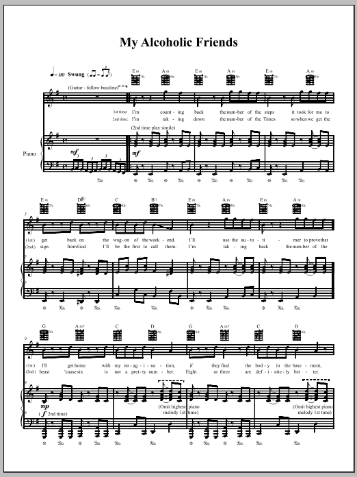 Download The Dresden Dolls My Alcoholic Friends sheet music and printable PDF score & Pop music notes
