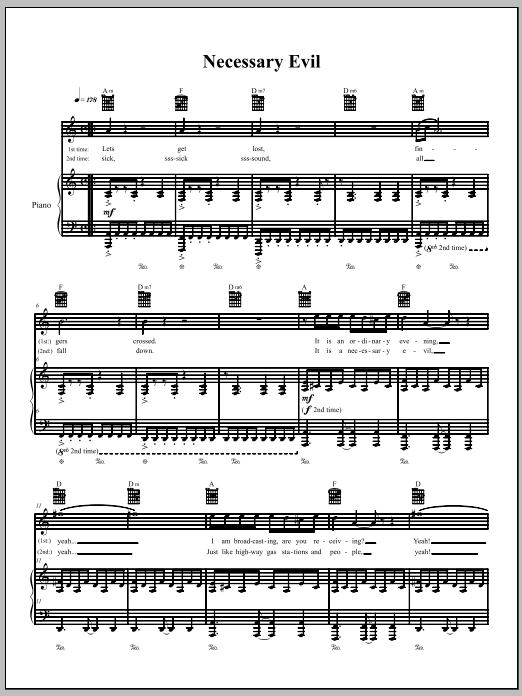 Download The Dresden Dolls Necessary Evil sheet music and printable PDF score & Pop music notes
