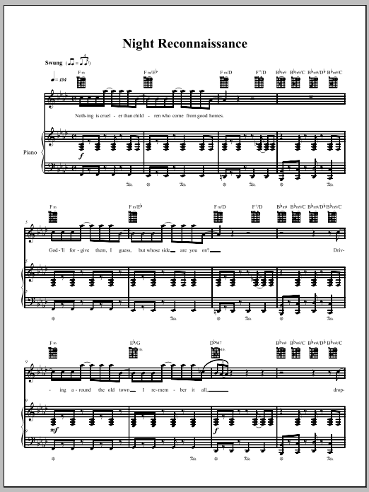Download The Dresden Dolls Night Reconnaissance sheet music and printable PDF score & Punk music notes