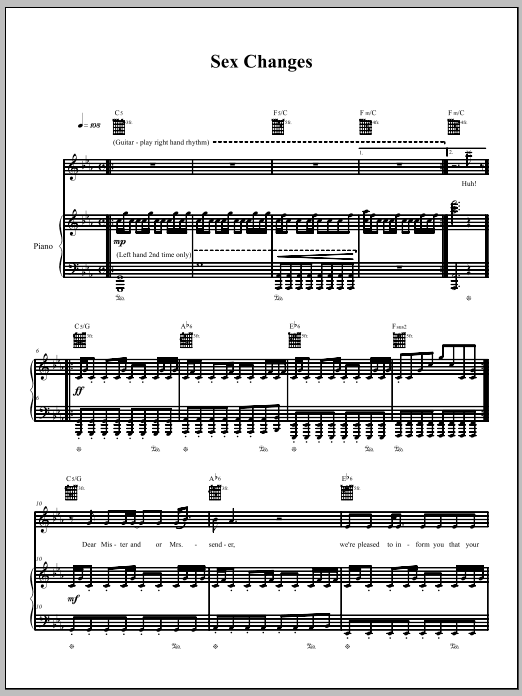 Download The Dresden Dolls Sex Changes sheet music and printable PDF score & Pop music notes