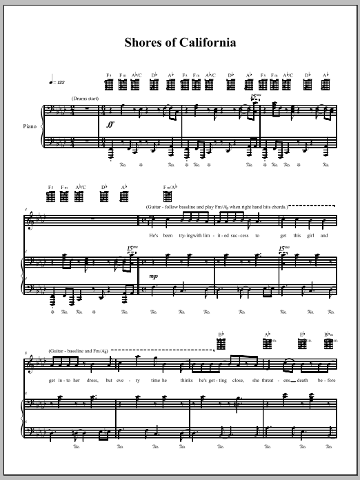 Download The Dresden Dolls Shores Of California sheet music and printable PDF score & Pop music notes