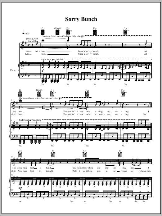 Download The Dresden Dolls Sorry Bunch sheet music and printable PDF score & Punk music notes