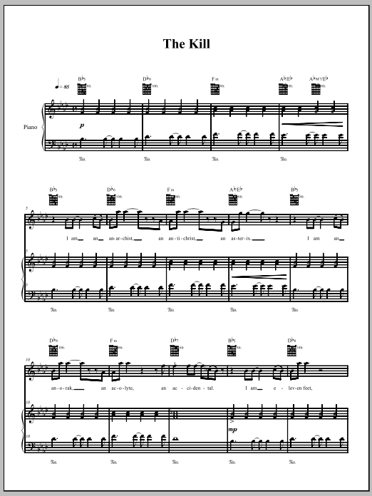 Download The Dresden Dolls The Kill sheet music and printable PDF score & Pop music notes