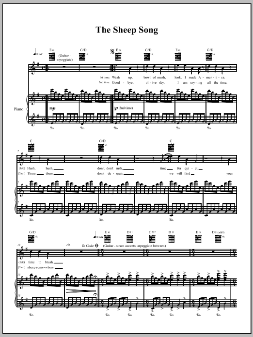 Download The Dresden Dolls The Sheep Song sheet music and printable PDF score & Punk music notes