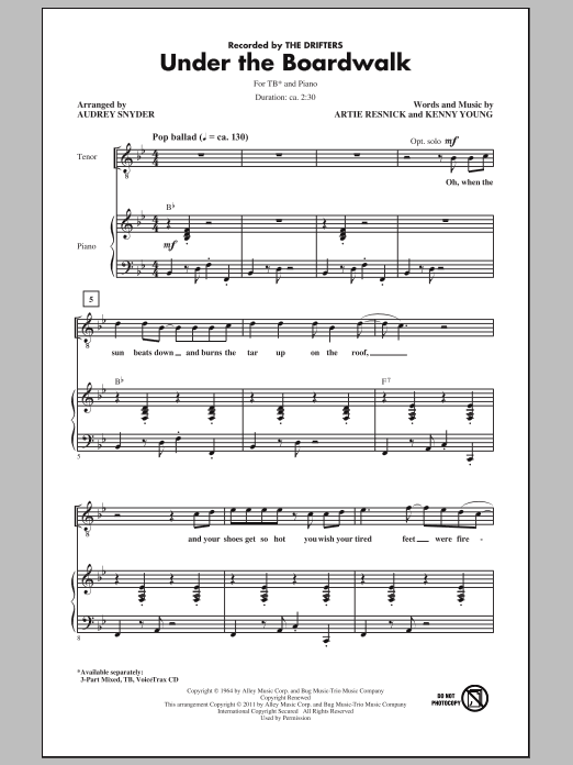 Download The Drifters Under The Boardwalk (arr. Audrey Snyder) sheet music and printable PDF score & Concert music notes