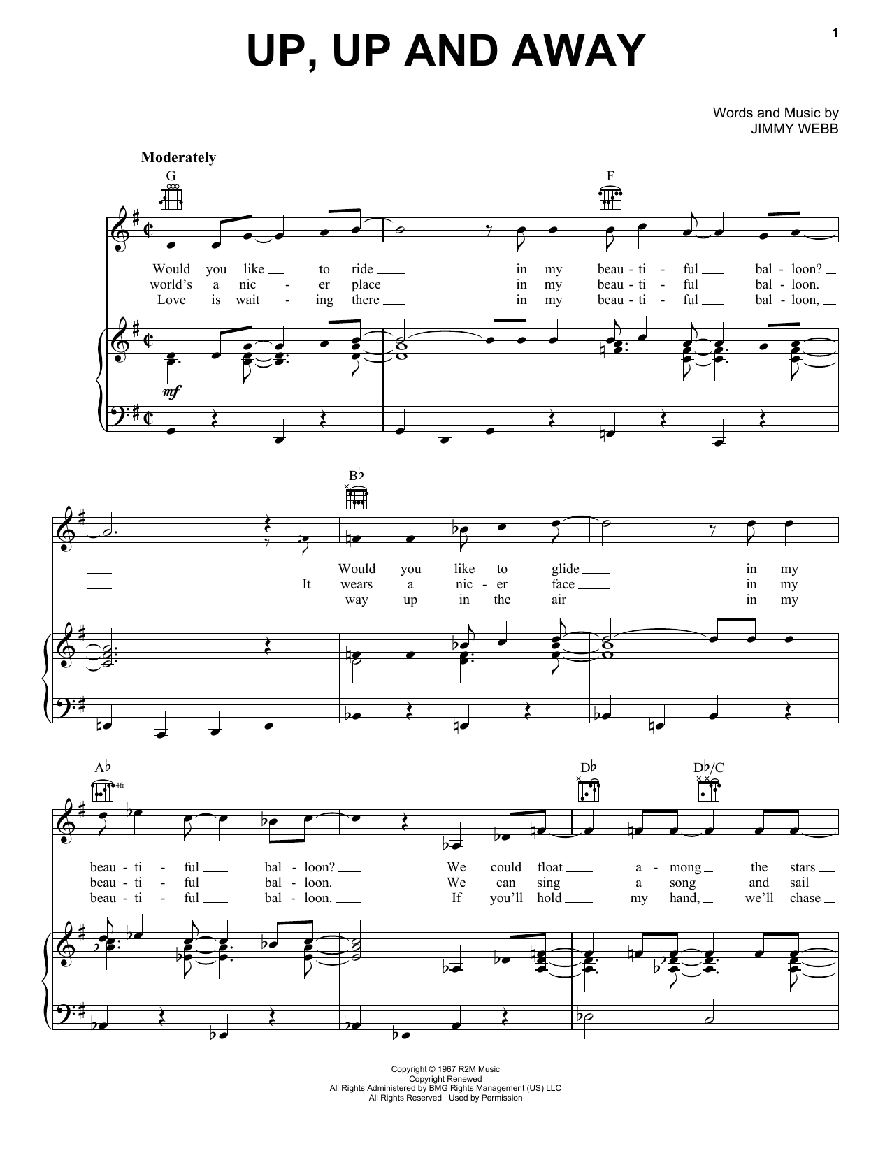 Download The Fifth Dimension Up, Up And Away sheet music and printable PDF score & Jazz music notes