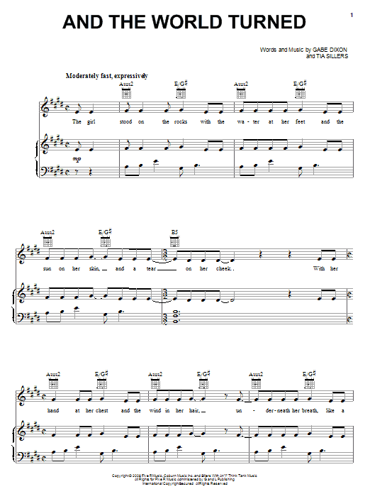 Download The Gabe Dixon Band And The World Turned sheet music and printable PDF score & Pop music notes