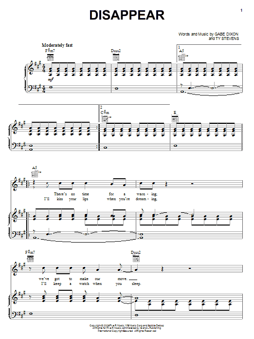 Download The Gabe Dixon Band Disappear sheet music and printable PDF score & Pop music notes