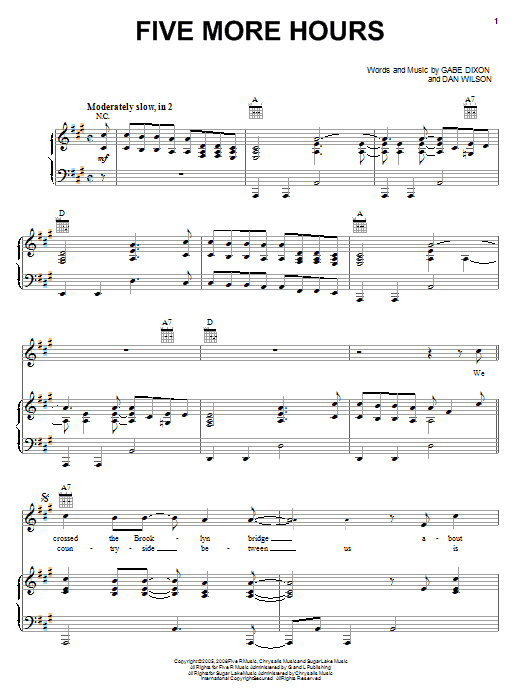 Download The Gabe Dixon Band Five More Hours sheet music and printable PDF score & Pop music notes