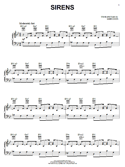 Download The Gabe Dixon Band Sirens sheet music and printable PDF score & Pop music notes