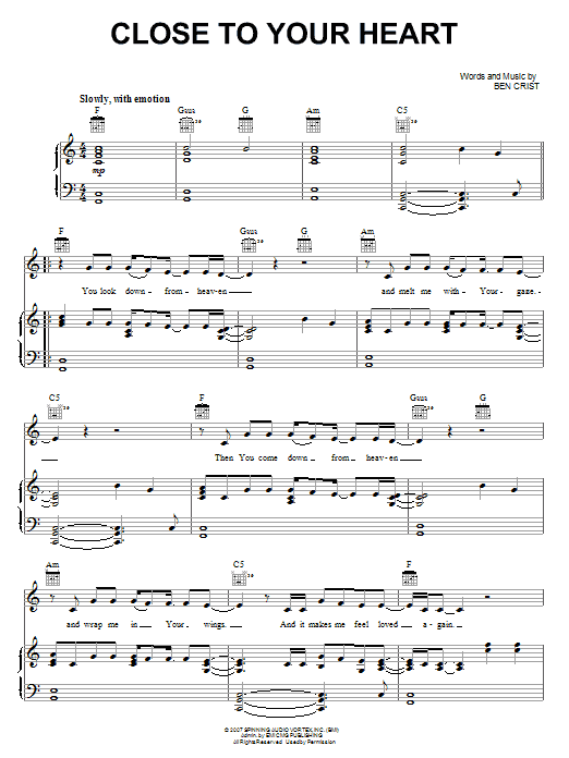 Download The Glorious Unseen Close To Your Heart sheet music and printable PDF score & Pop music notes