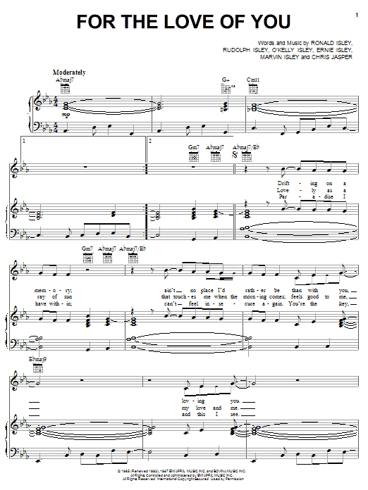 Download The Isley Brothers For The Love Of You sheet music and printable PDF score & Pop music notes