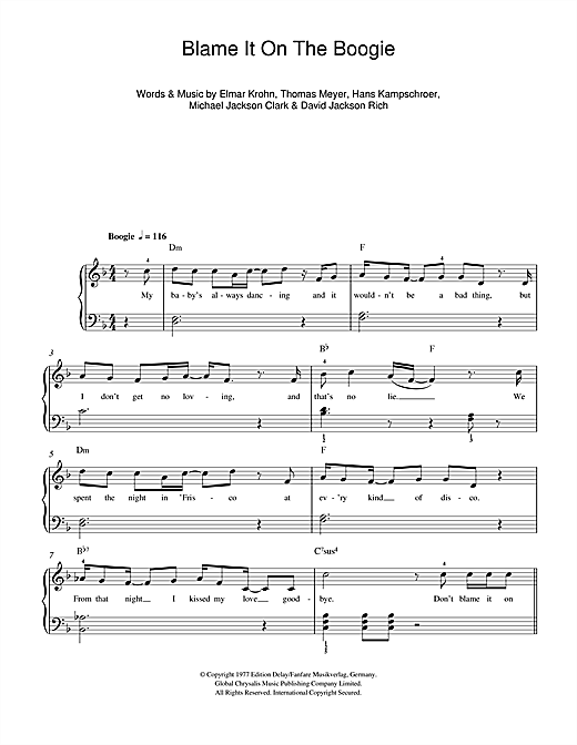 Download The Jackson 5 Blame It On The Boogie sheet music and printable PDF score & Disco music notes