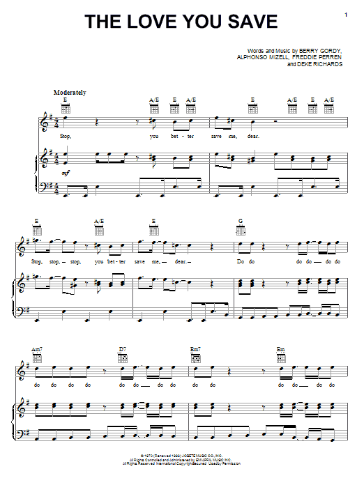 Download The Jackson 5 The Love You Save sheet music and printable PDF score & Rock music notes