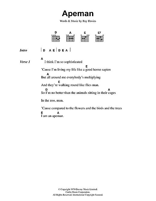 Download The Kinks Apeman sheet music and printable PDF score & Rock music notes