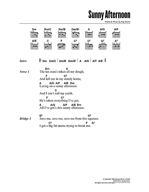 Download The Kinks Sunny Afternoon sheet music and printable PDF score & Pop music notes