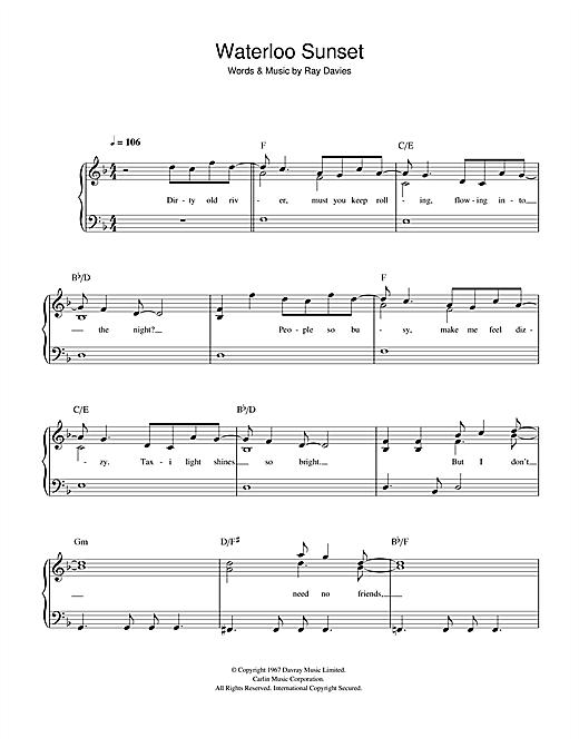 Download The Kinks Waterloo Sunset sheet music and printable PDF score & Rock music notes