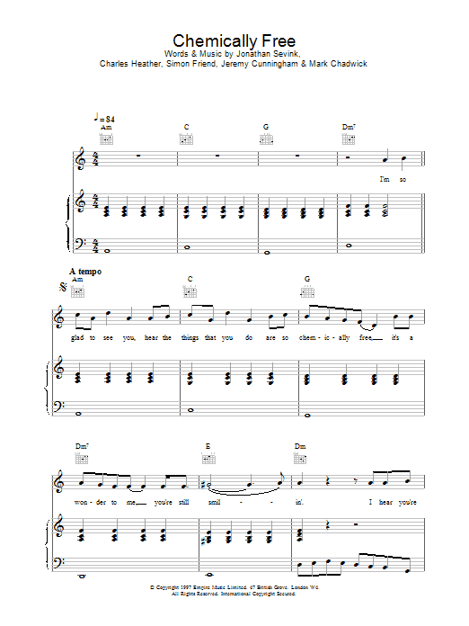 Download The Levellers Chemically Free sheet music and printable PDF score & Rock music notes