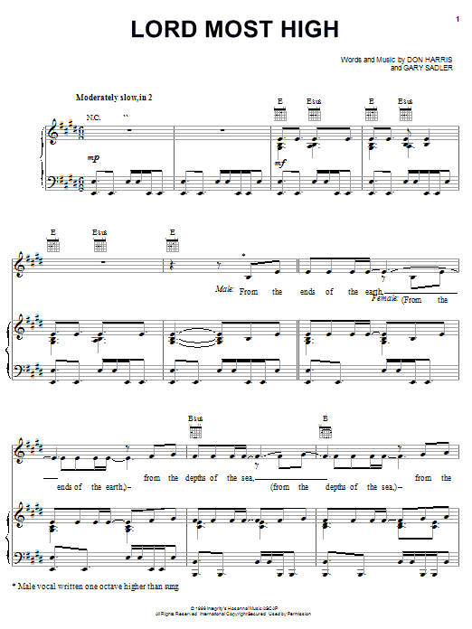 Download The Martins Lord Most High sheet music and printable PDF score & Pop music notes