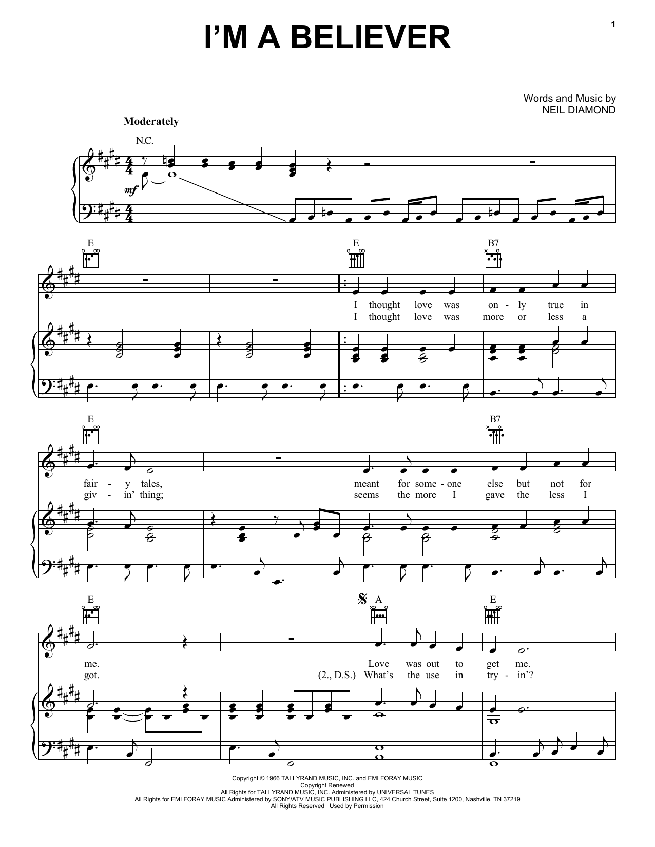 Download The Monkees I'm A Believer sheet music and printable PDF score & Pop music notes