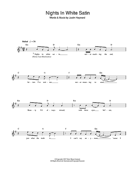 Download The Moody Blues Nights In White Satin sheet music and printable PDF score & Rock music notes
