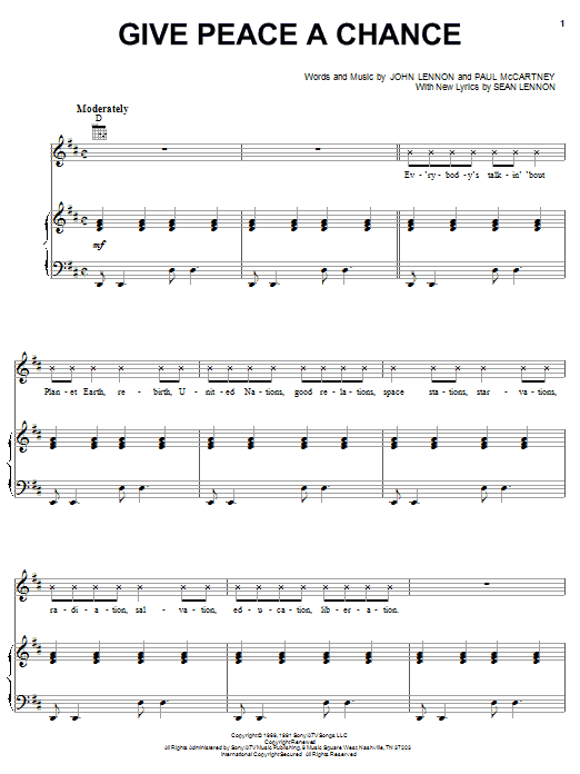Download The Peace Choir Give Peace A Chance sheet music and printable PDF score & Pop music notes