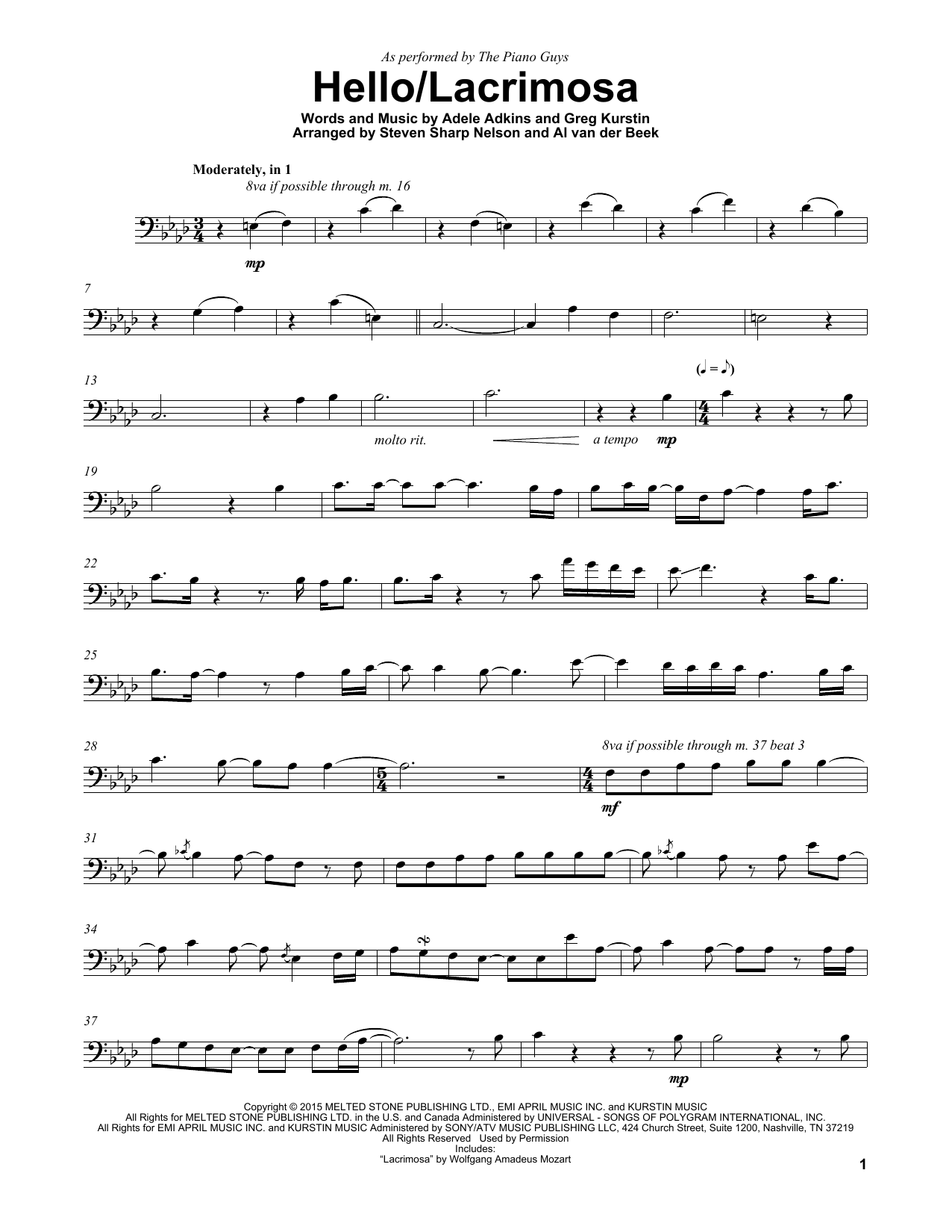 Download The Piano Guys Hello/Lacrimosa sheet music and printable PDF score & Rock music notes