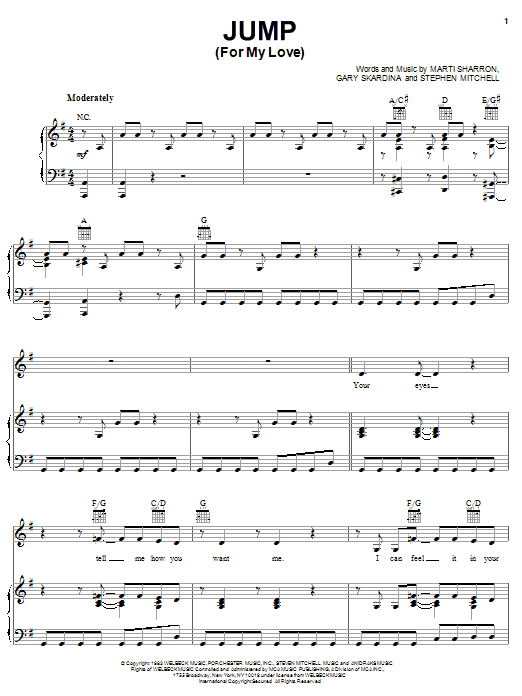 Download The Pointer Sisters Jump (For My Love) sheet music and printable PDF score & Rock music notes