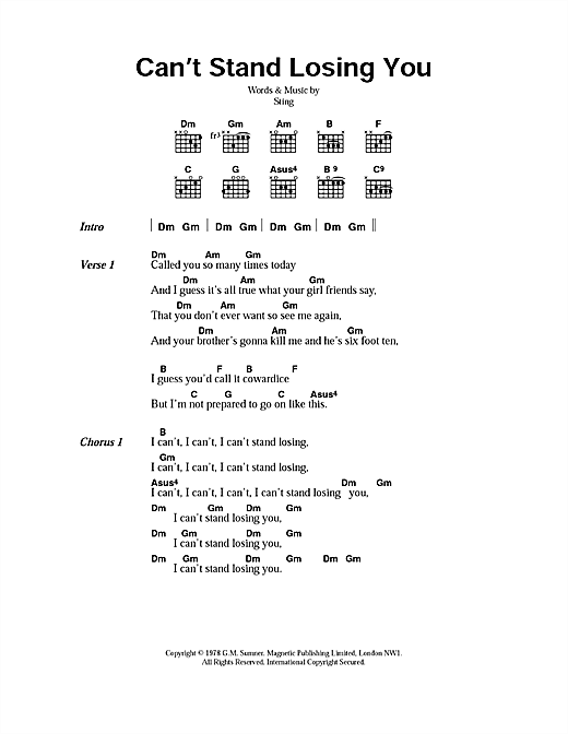 Download The Police Can't Stand Losing You sheet music and printable PDF score & Rock music notes