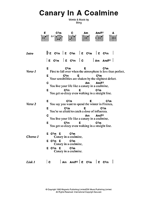 Download The Police Canary In A Coalmine sheet music and printable PDF score & Rock music notes