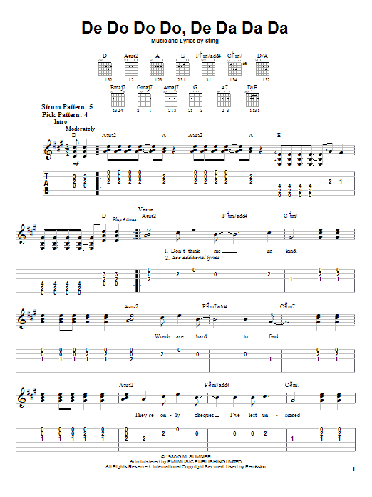 Download The Police De Do Do Do, De Da Da Da sheet music and printable PDF score & Rock music notes