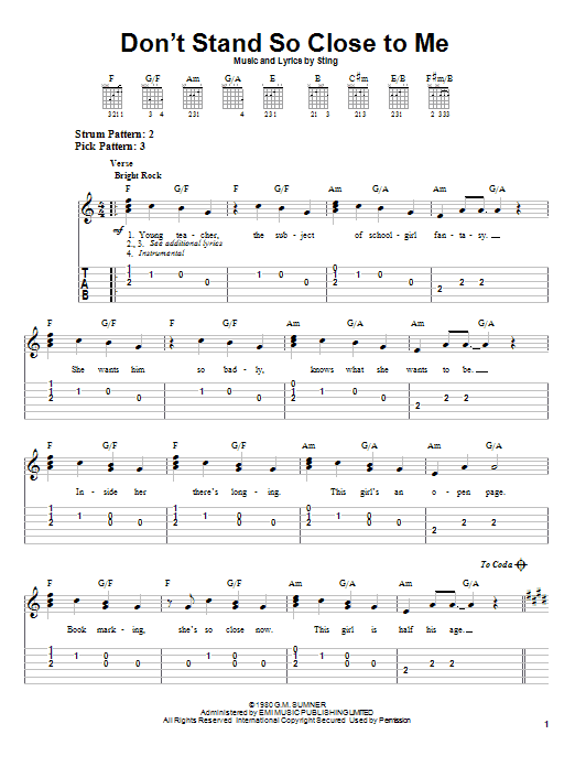 Download The Police Don't Stand So Close To Me sheet music and printable PDF score & Rock music notes