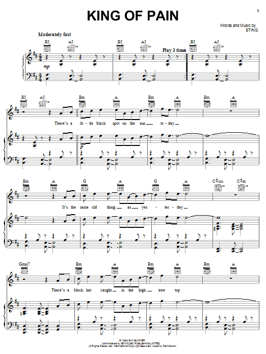 Download The Police King Of Pain sheet music and printable PDF score & Rock music notes
