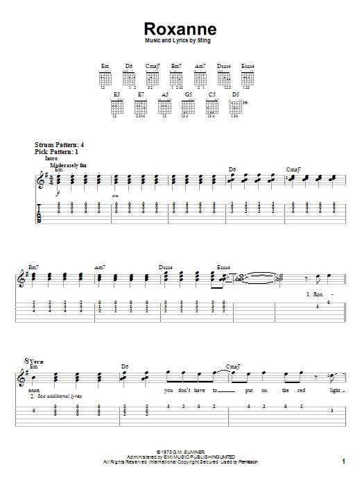 Download The Police Roxanne sheet music and printable PDF score & Rock music notes