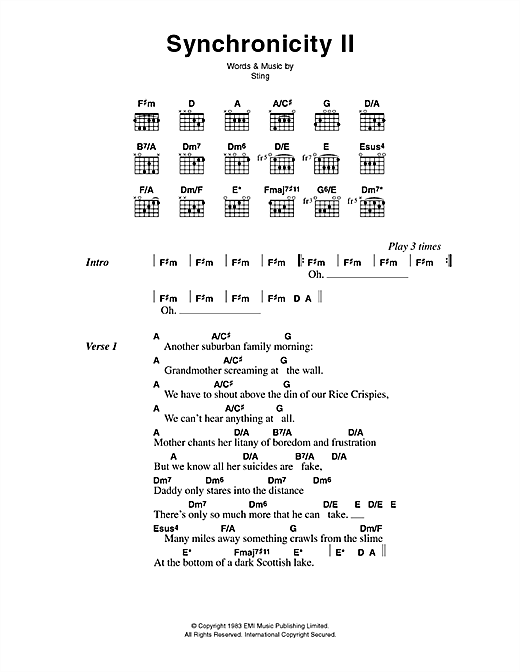 Download The Police Synchronicity II sheet music and printable PDF score & Rock music notes