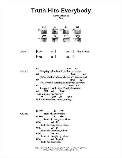 Download The Police Truth Hits Everybody sheet music and printable PDF score & Rock music notes