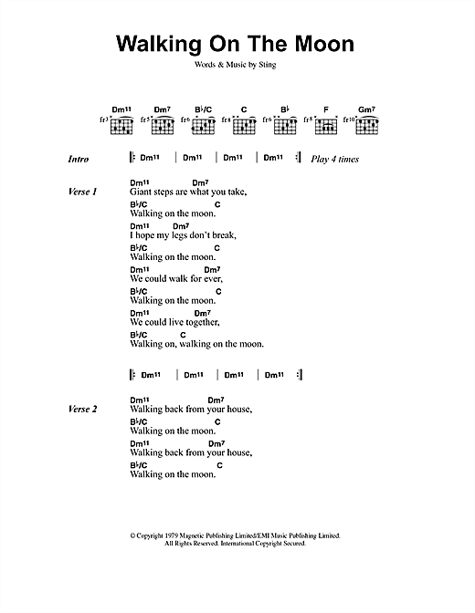 Download The Police Walking On The Moon sheet music and printable PDF score & Rock music notes