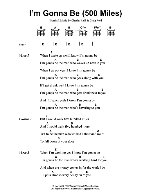 Download The Proclaimers I'm Gonna Be (500 Miles) sheet music and printable PDF score & Rock music notes