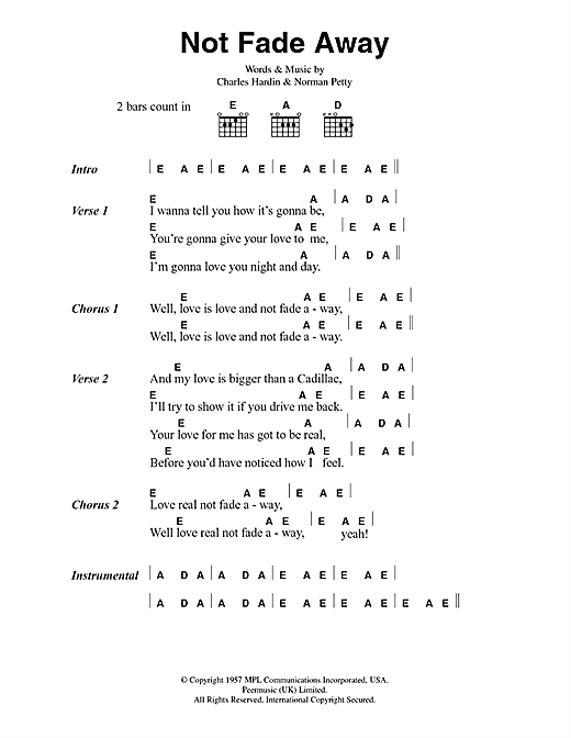 Download The Rolling Stones Not Fade Away sheet music and printable PDF score & Rock music notes