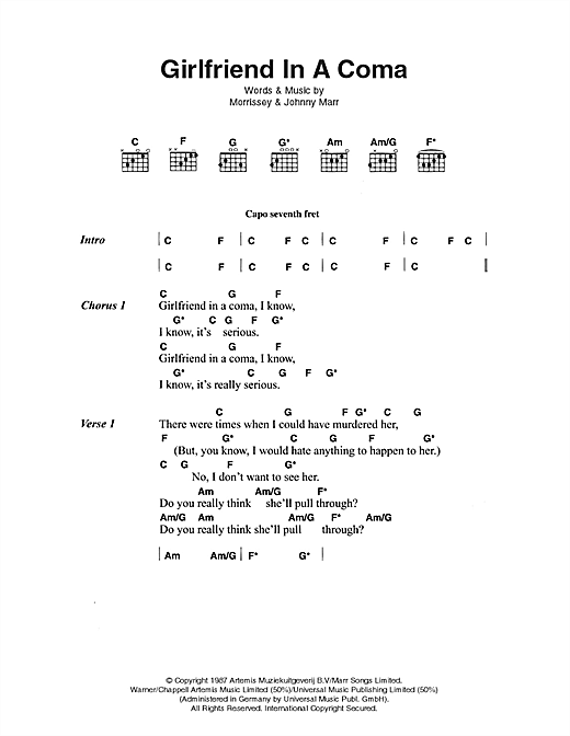 Download The Smiths Girlfriend In A Coma sheet music and printable PDF score & Pop music notes