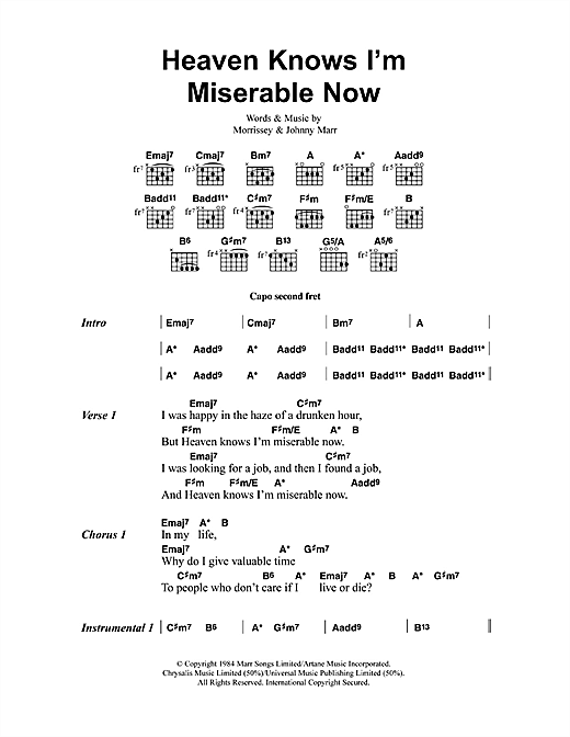 Download The Smiths Heaven Knows I'm Miserable Now sheet music and printable PDF score & Pop music notes