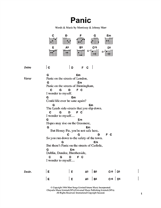 Download The Smiths Panic sheet music and printable PDF score & Rock music notes
