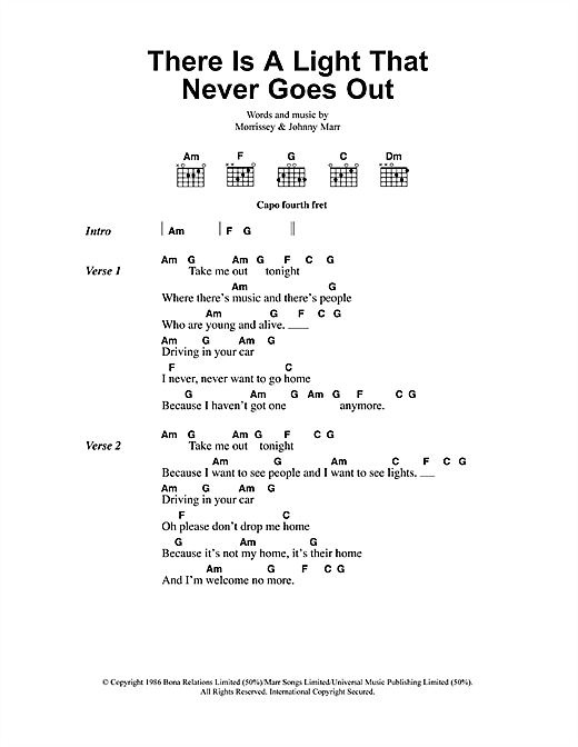 Download The Smiths There Is A Light That Never Goes Out sheet music and printable PDF score & Pop music notes